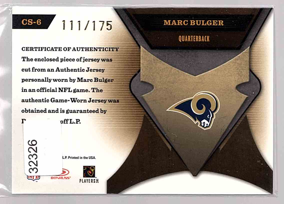 2005 Leaf Certified Materials Certified Skills Jersey Marc Bulger #CS-6 card back image