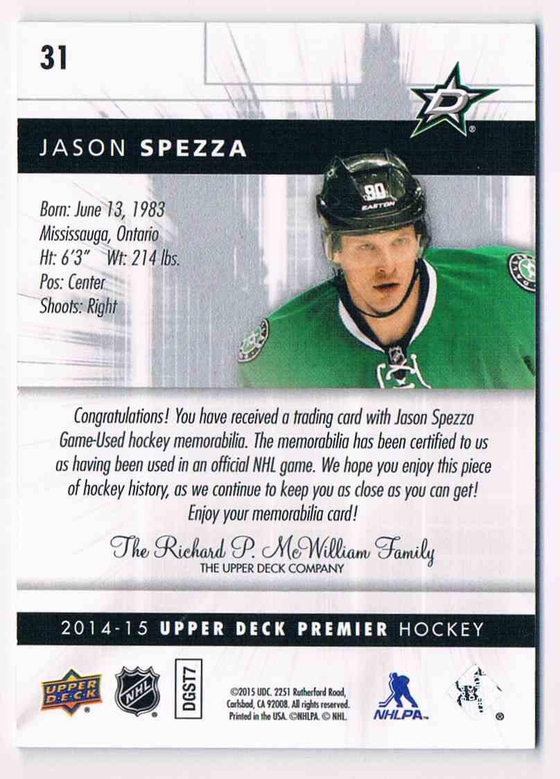2014-15 Premier Spectrum Jason Spezza #31 card back image