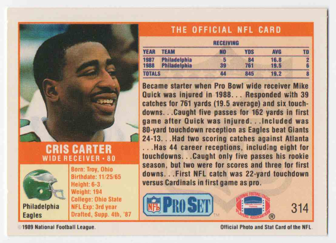1989 Pro Set Cris Carter #314 card back image