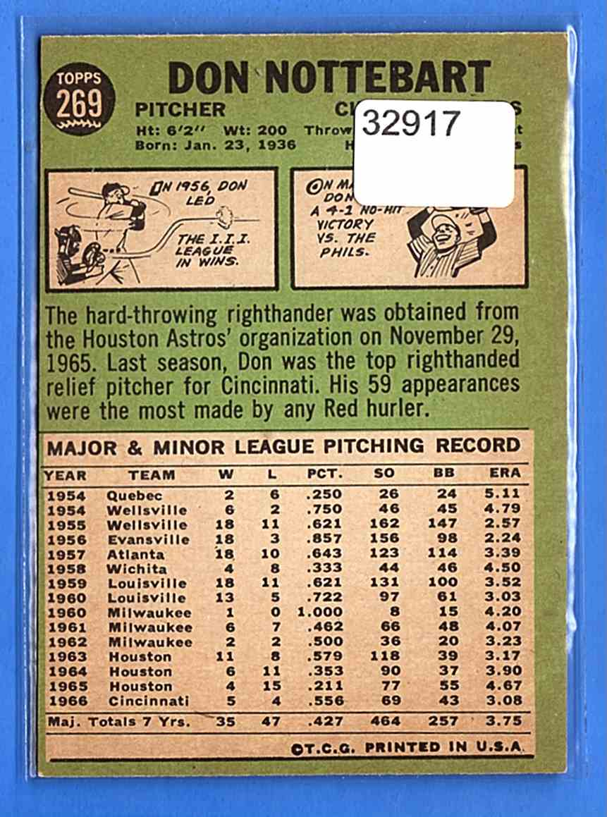 1967 Topps Don Nottebart #269 card back image