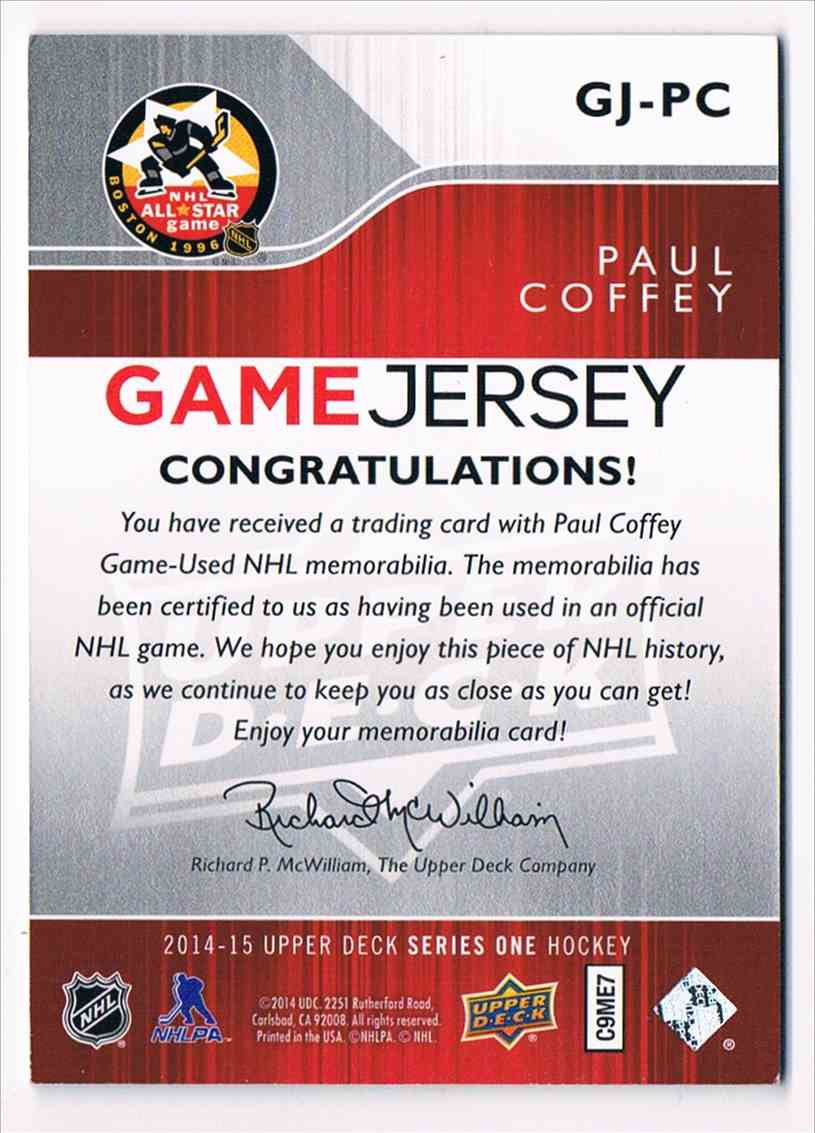 2014-15 Upper Deck Series One Paul Coffey #GJ-PC card back image