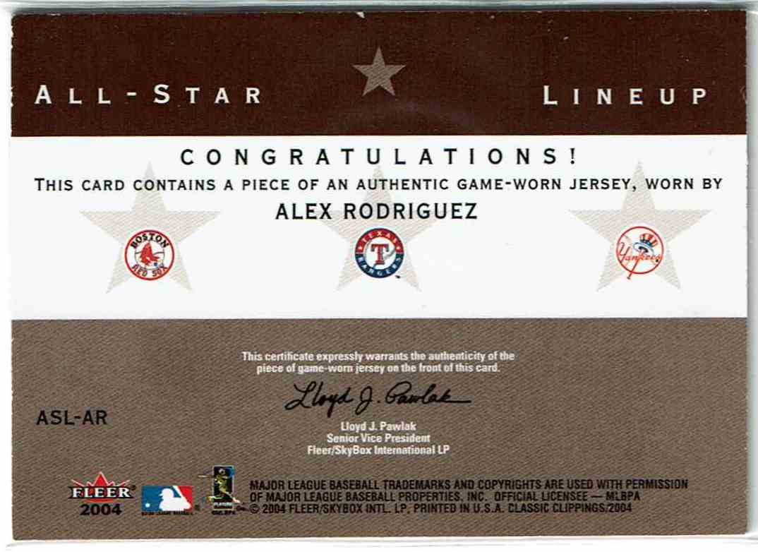 2004 Fleer Classic Clippings All-Star Lineup Single Swatch Nomar Garciaparra, Alex Rodriguez, Jason Giambi #ASL-AR card back image