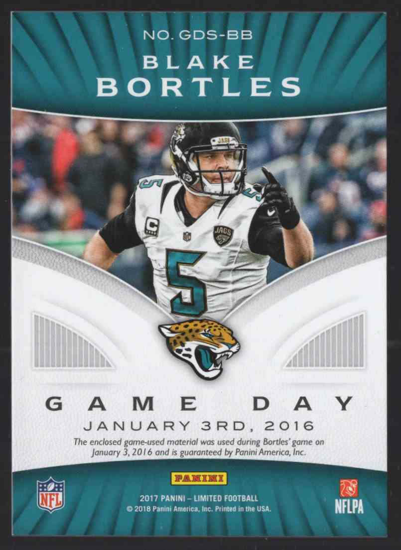 2017 Limited Game Day Swatches Blake Bortles #12 card back image