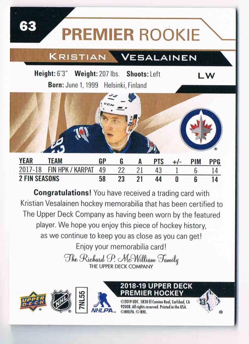 2018-19 Upper Deck Premier Kristian Vesalainen #63 card back image
