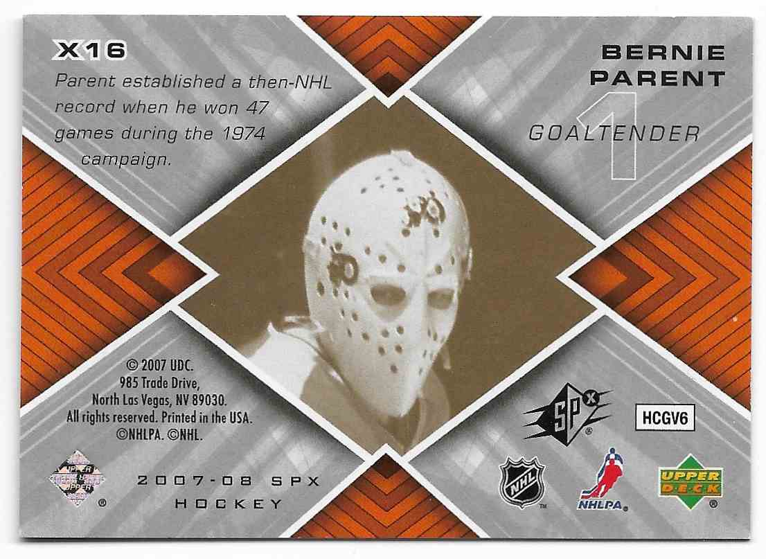 2007-08 Upper Deck SPx Bernie Parent #X16 card back image