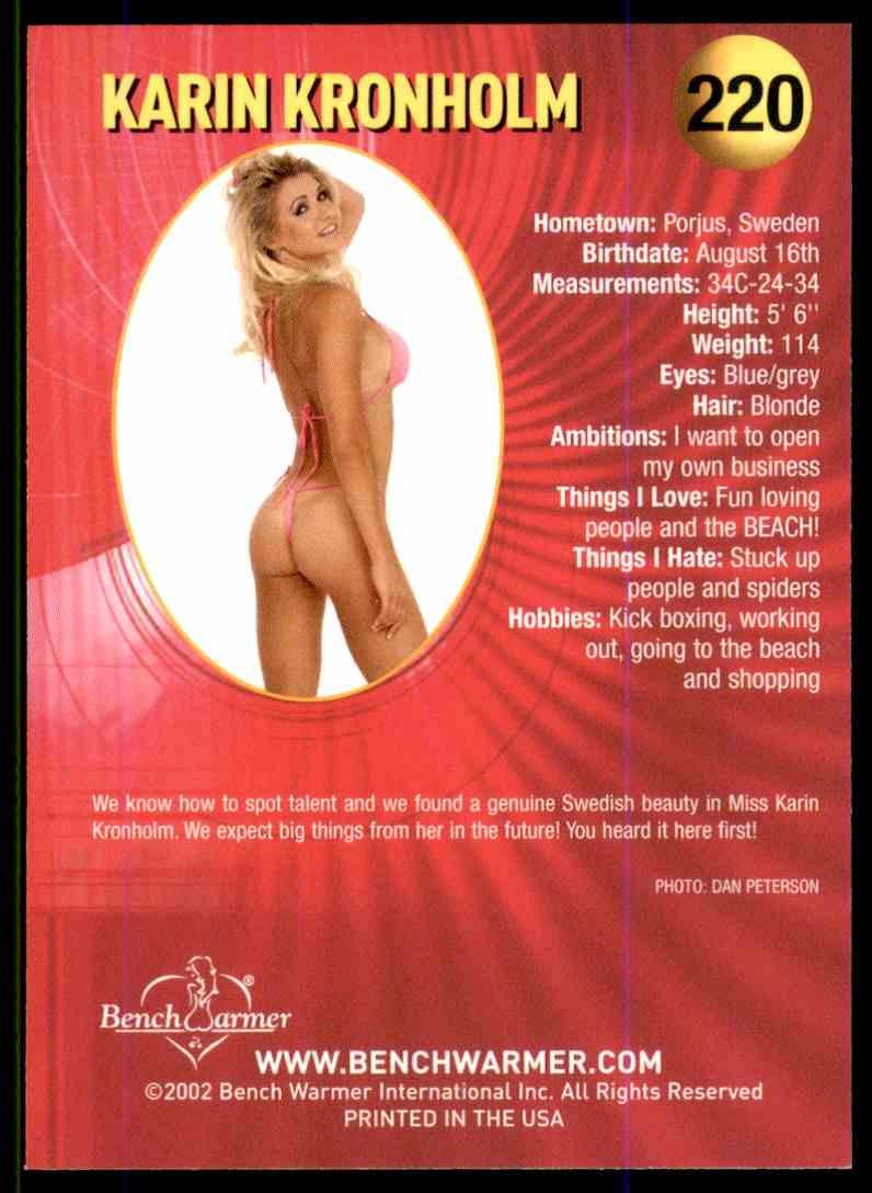 2002 Bench Warmer Karin Kronholm #220 card back image