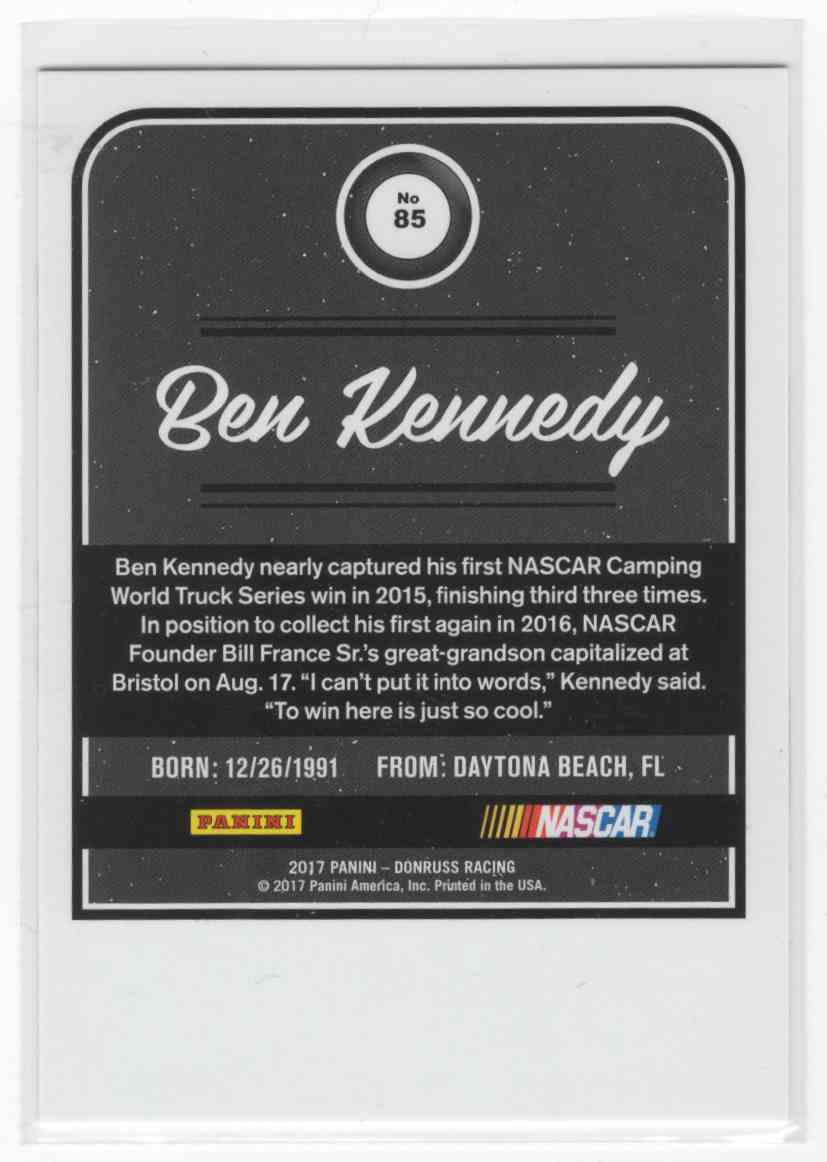 2017 Panini Donruss Racing Ben Kennedy #85 card back image