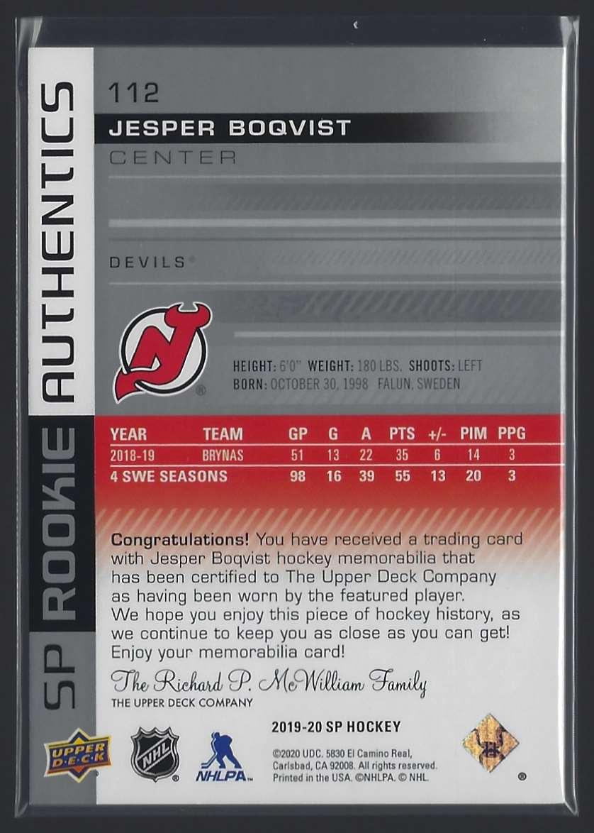2019-20 SP Jerseys Jesper Boqvist #112 card back image