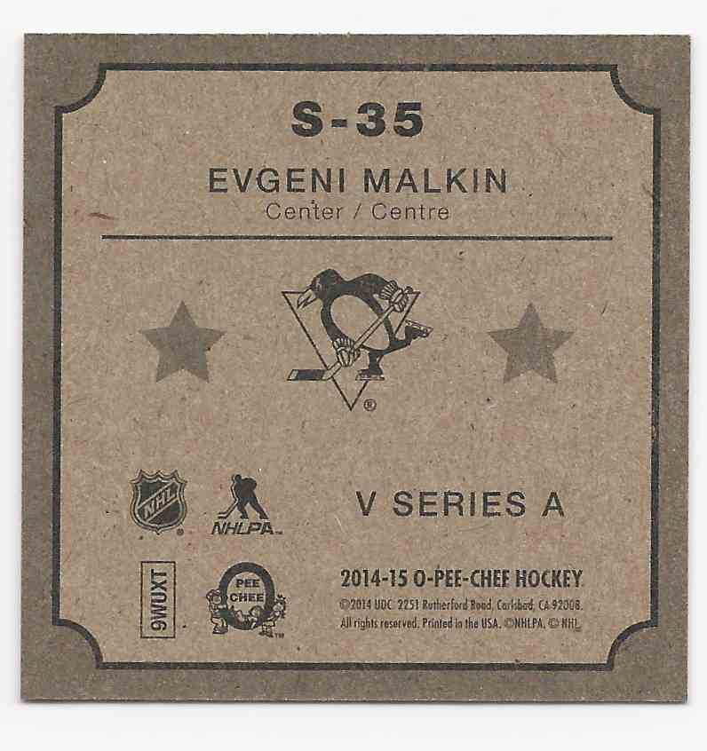 2014-15 O-Pee-Chee V Series A Evgeni Malkin #S-35 card back image