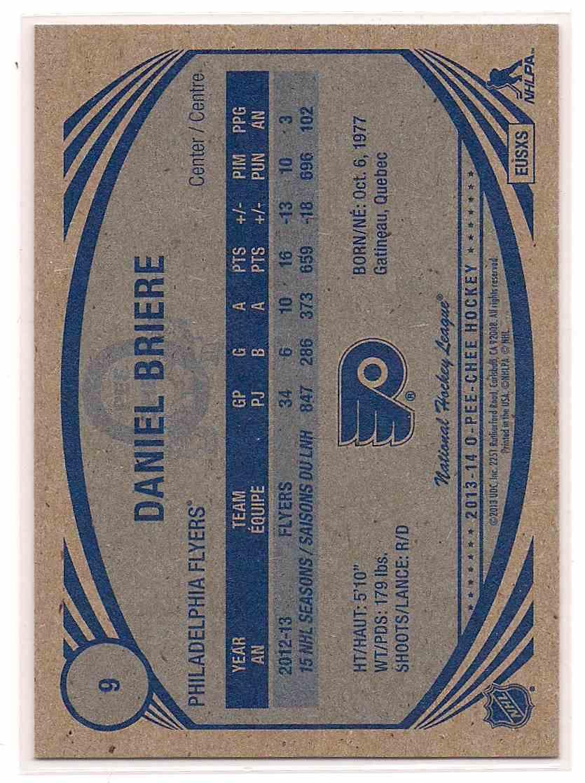 2013-14 0-Pee-Chee Retro Daniel Briere #9 card back image