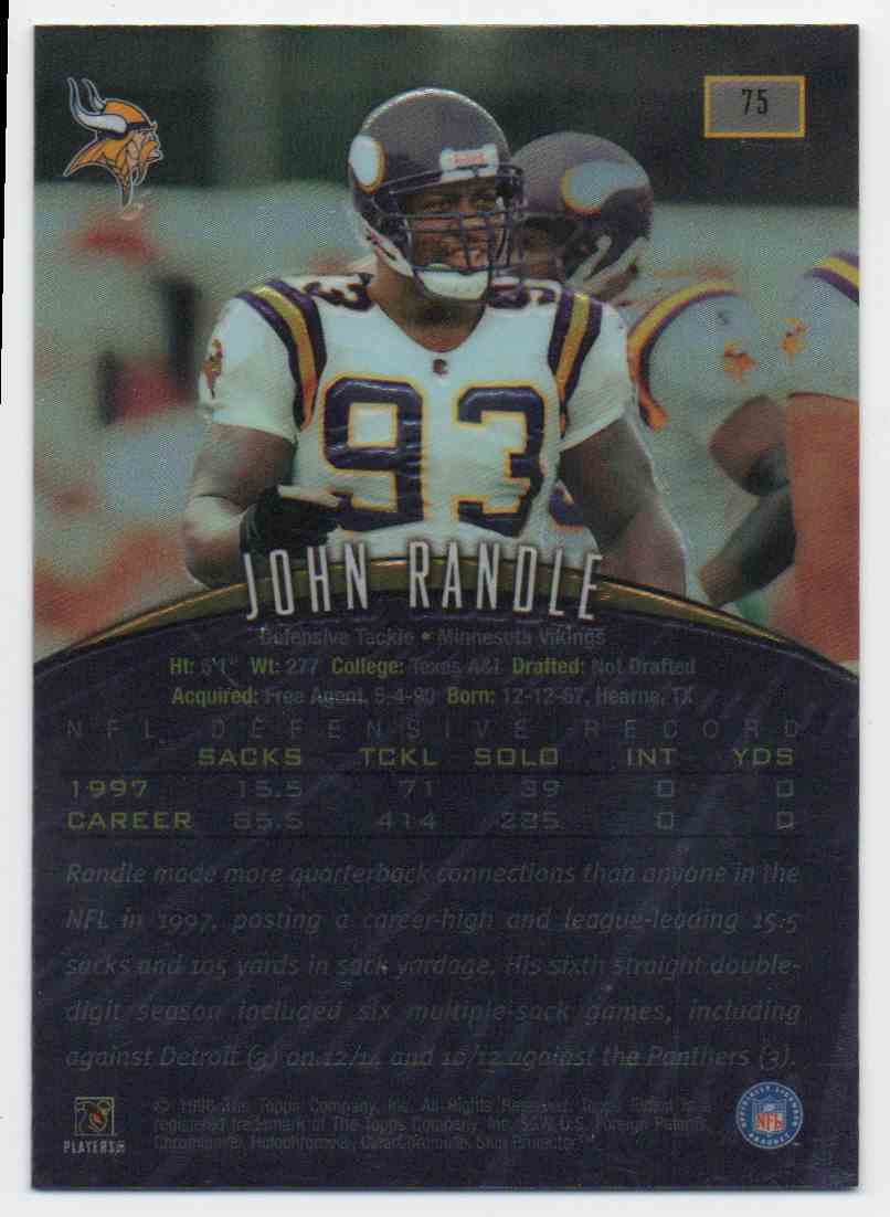 1998 Finest No Protector John Randle #75 card back image