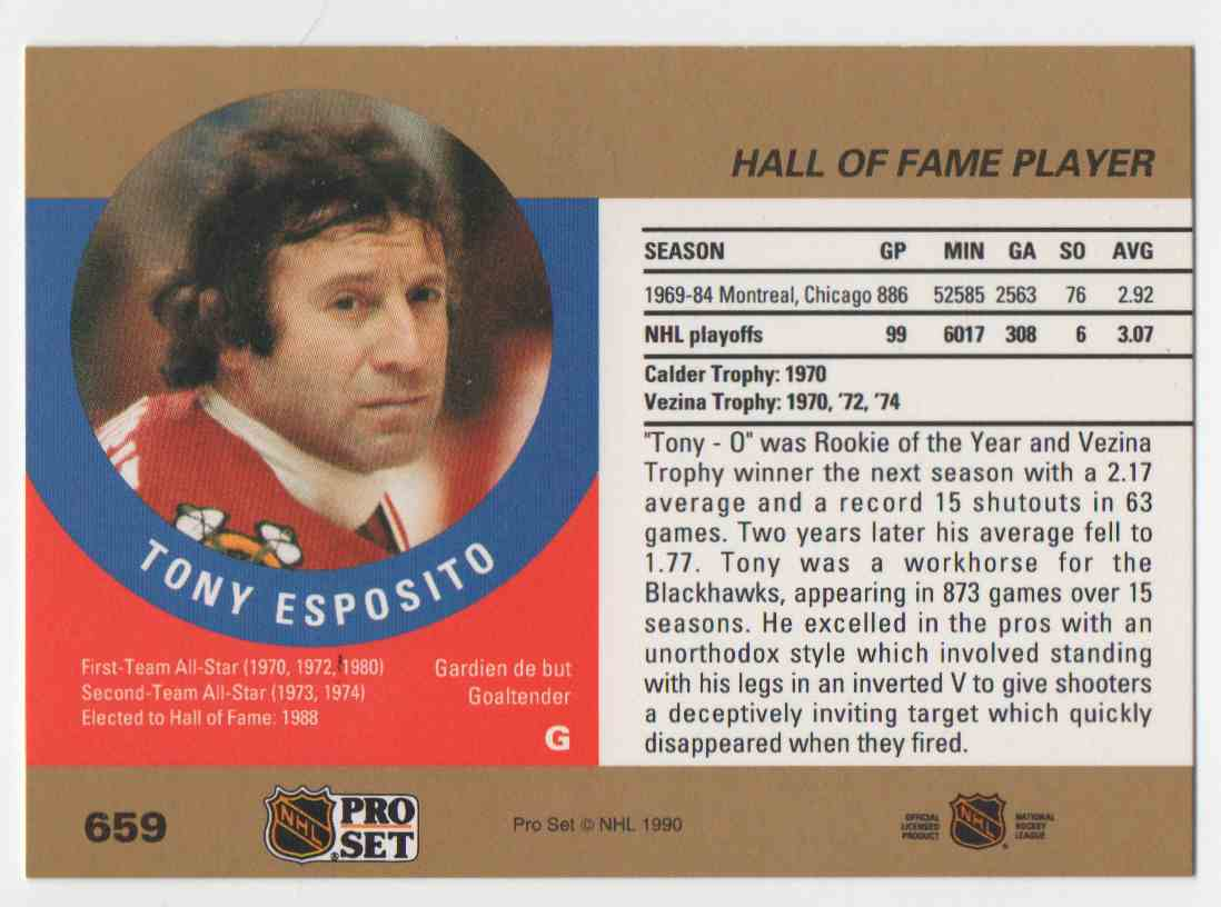 1990-91 Pro Set Tony Esposito #659 card back image