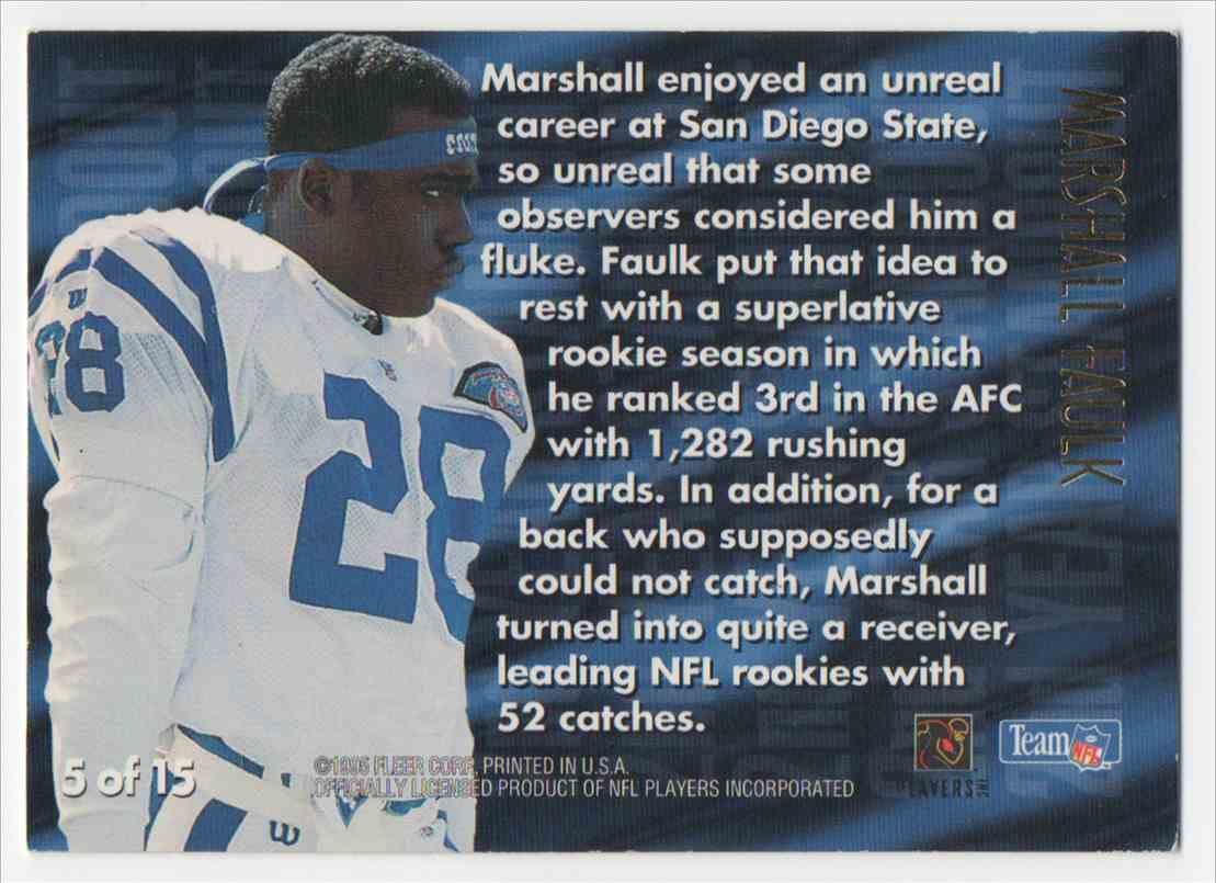 1995 Ultra 2nd Year Standout Marshall Faulk #5 card back image