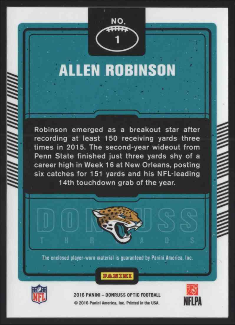 2016 Donruss Optic Threads Bronze Allen Robinson #1 card back image