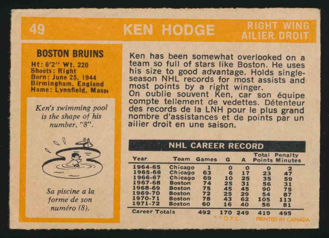 1972-73 0-Pee-Chee Ken Hodge - Vg EX #49 card back image
