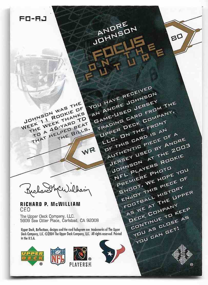 2004 Upper Deck Reflections Andre Johnson #FO-RJ card back image