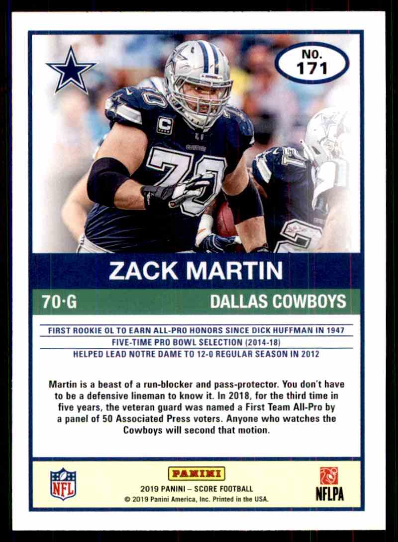 2019 Score Zack Martin #171 card back image
