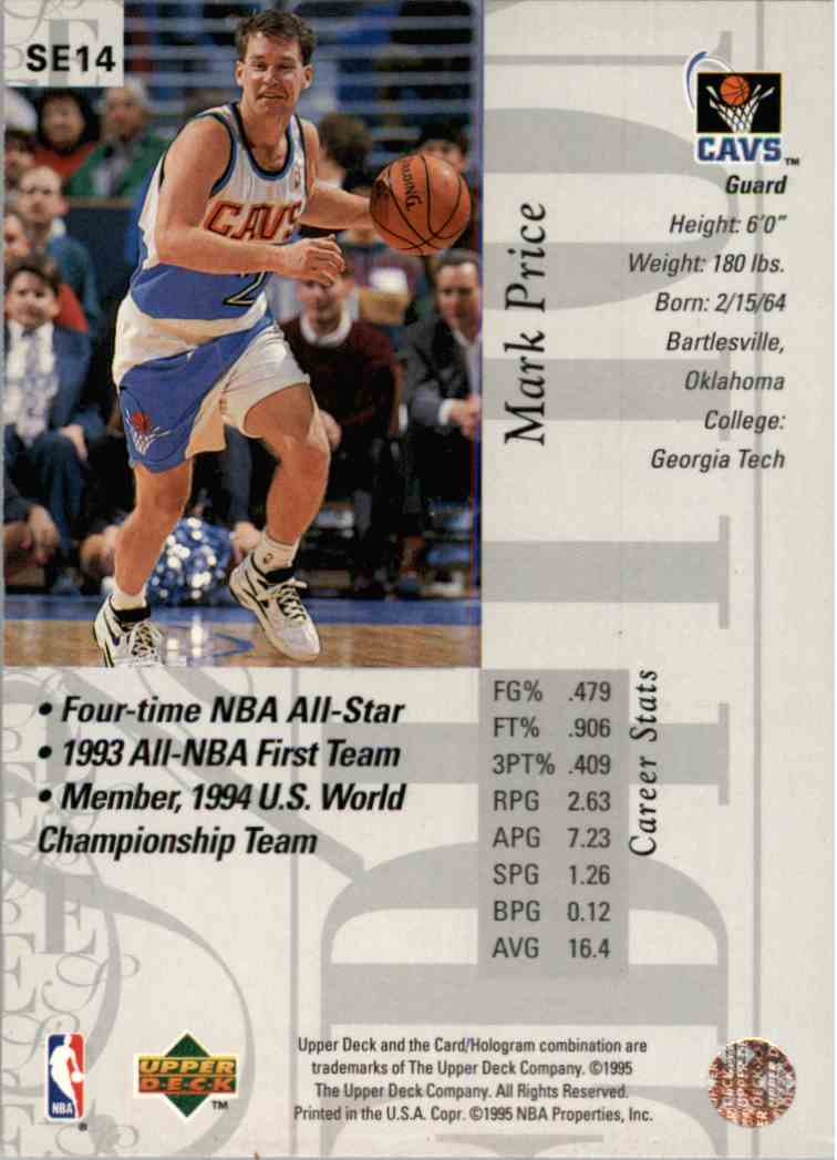 Real Card Back Image 1995 96 Upper Deck Special Edition Mark Price Se14