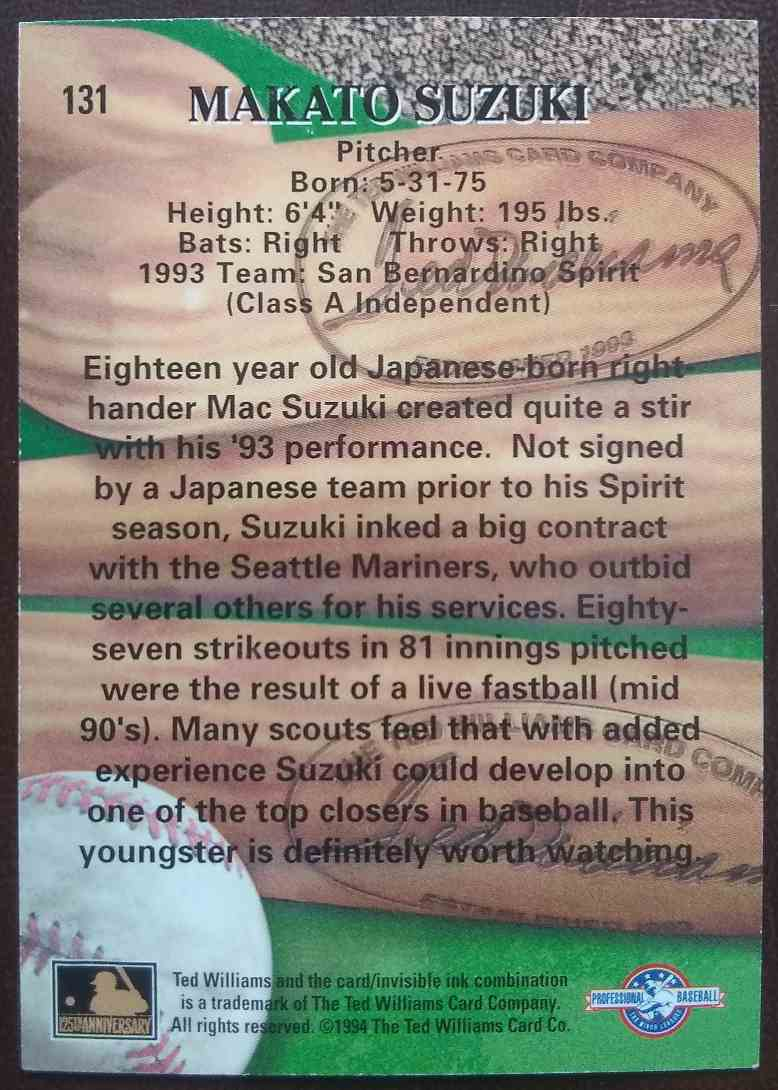 1994 Ted Williams Card Company Mac Suzuki #131 card back image