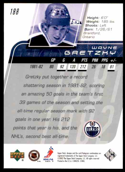 2002-03 Upper Deck Wayne Gretzky Ms #188 card back image