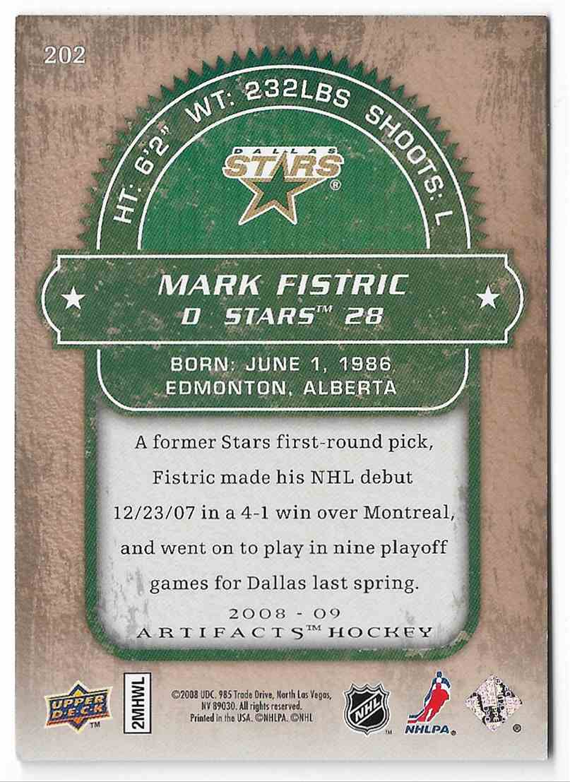 2008-09 Upper Deck Artifacts Mark Fistric #202 card back image