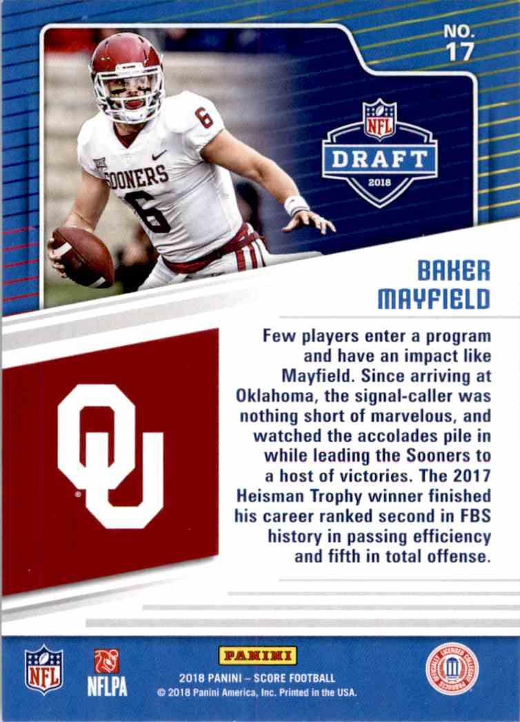 2018 Panini Score Draft Baker Mayfield #17 card back image