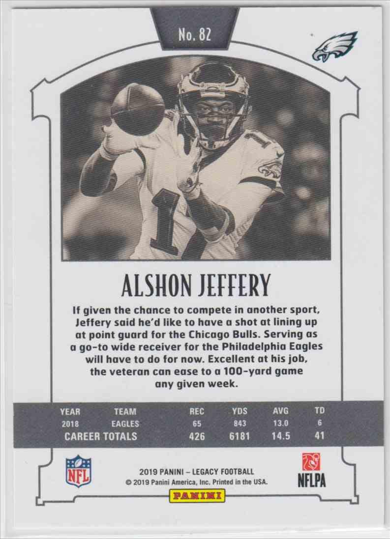 2019 Panini Legacy Base Red Alshon Jeffery #82 card back image