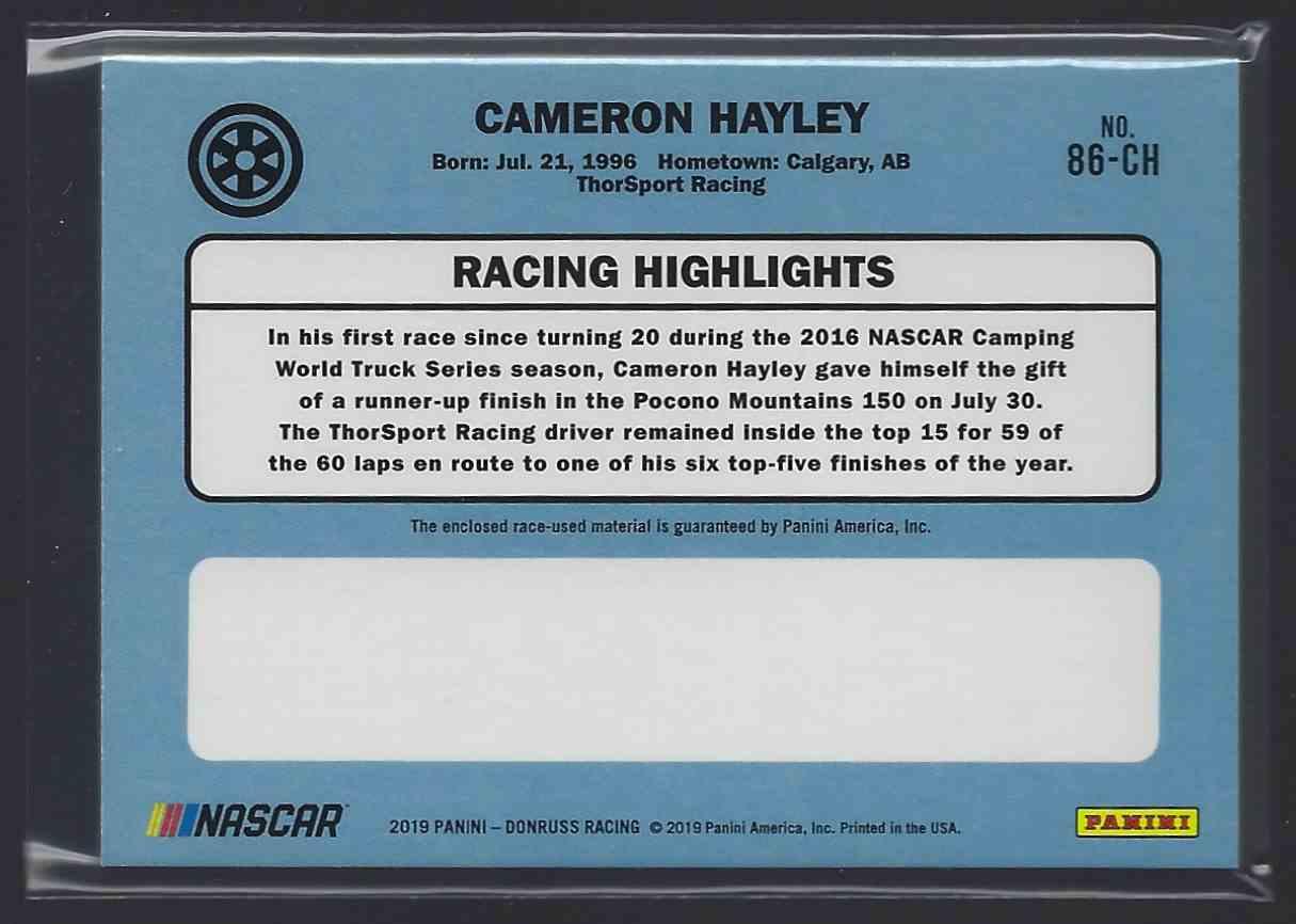 2019 Donruss Retro Relics '86 Cameron Hayley #86-CH card back image