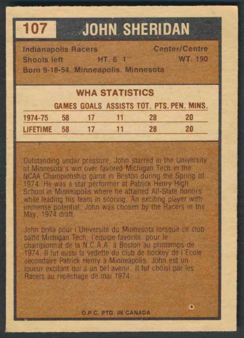 1975-76 O-Pee-Chee Wha John Sheridan #107 card back image