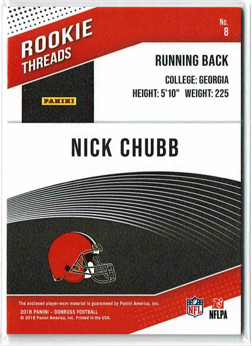2018 Panini Donruss Rookie Threads Nick Chubb #8 card back image