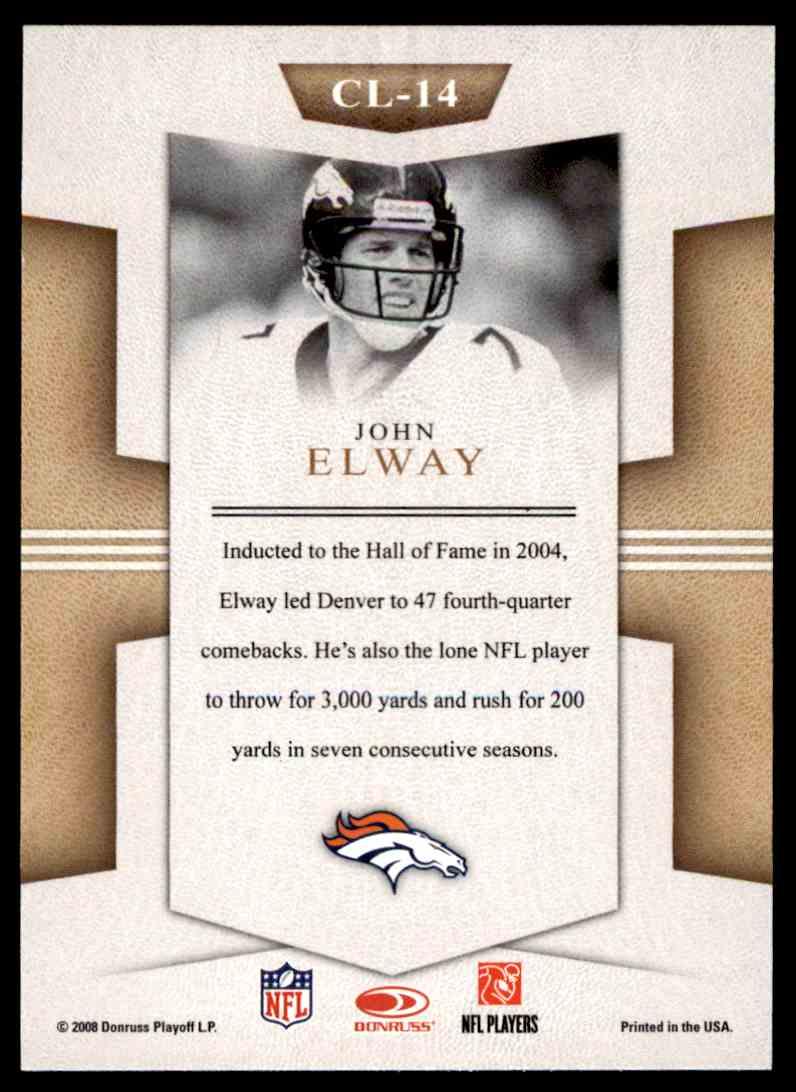2008 Donruss Threads Century Legends John Elway #CL-14 card back image