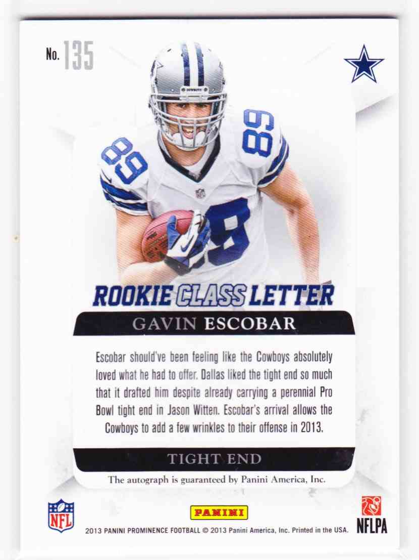 2013 Panini Prominence Rookie Letter Autographs Gavin Escobar #135 card back image