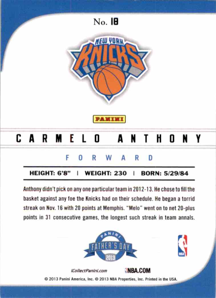 2013-14 Panini Father's Day Carmelo Anthony #18 card back image