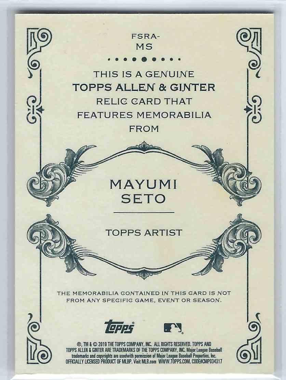 2019-20 Topps Allen And Ginter Full Sized Relic Mayumi Seto #FSRA-MS card back image