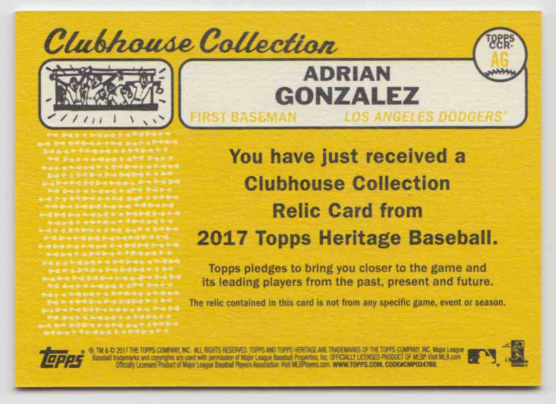 2017 Topps Heritage High Clubhouse Collection Relics Adrian Gonzalez #CCR-AG card back image