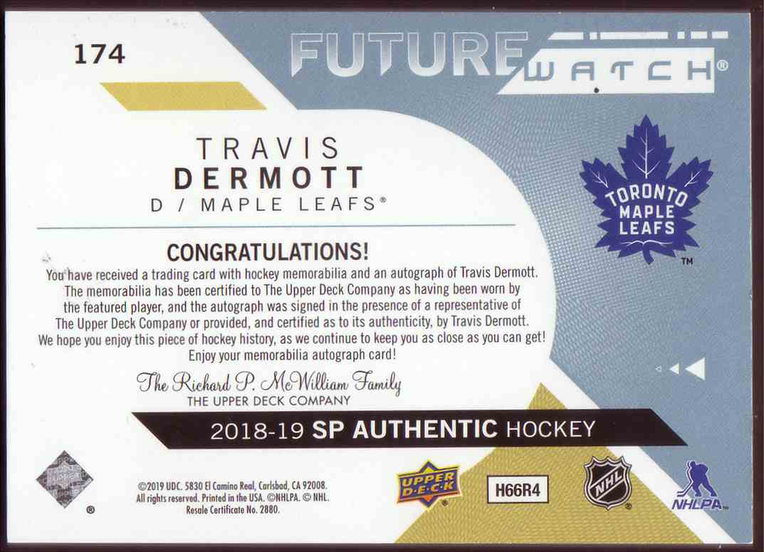 2018-19 SP Authentic Future Watch Autographed Patch Travis Dermott #174 card back image