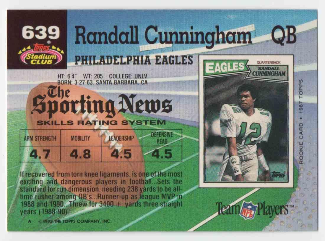 1992 Stadium Club Randall Cunningham #639 card back image