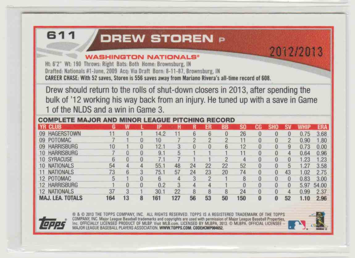 2013 Topps Gold Drew Storen #611 card back image