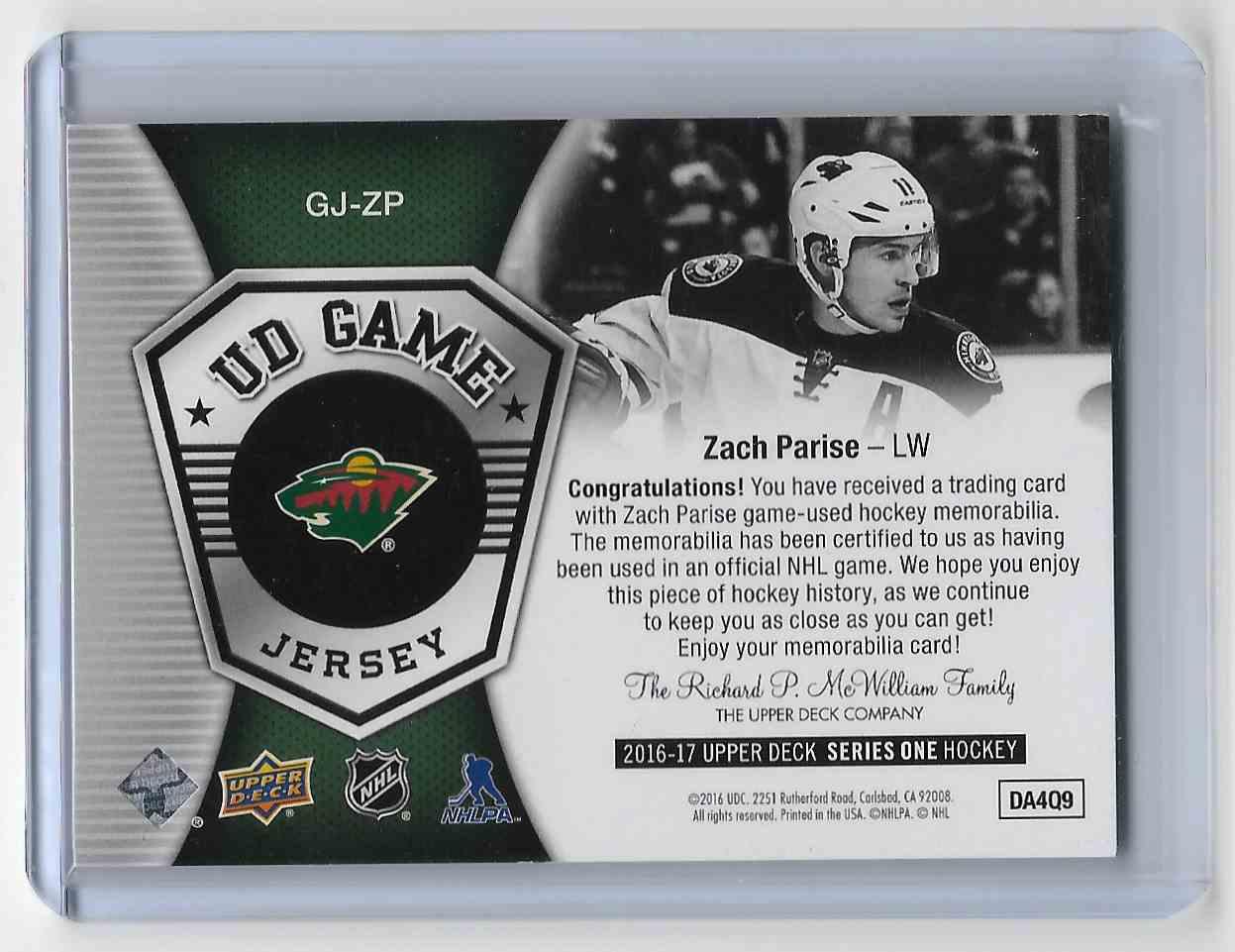 2016-17 Upper Deck Zach Parise #GJ-ZP card back image