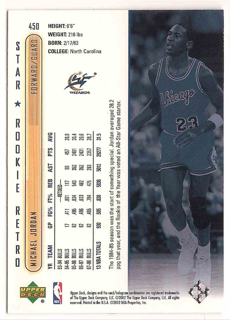 2001-02 Upper Deck Star Rookie Retro Hof Michael Jordan #450 card back image