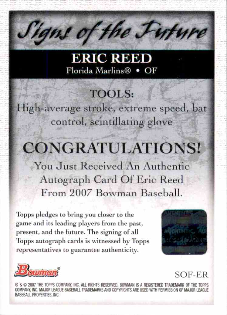 2007 Bowman Signs Of The Future Eric Reed #SOFER card back image