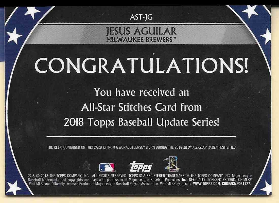 2018 Topps Update All-Star Stitches Silver Jesus Aguilar #AST-JG card back image