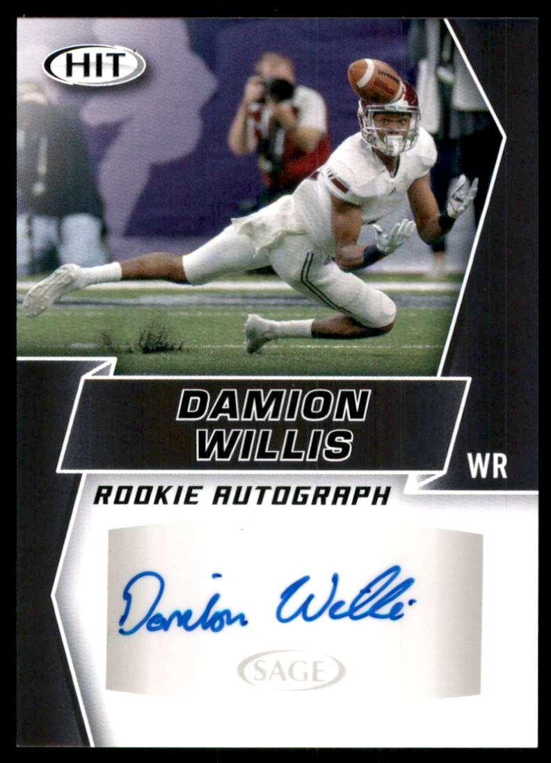 2019 Sage Hit Autographs Black Damion Willis #A82 card front image