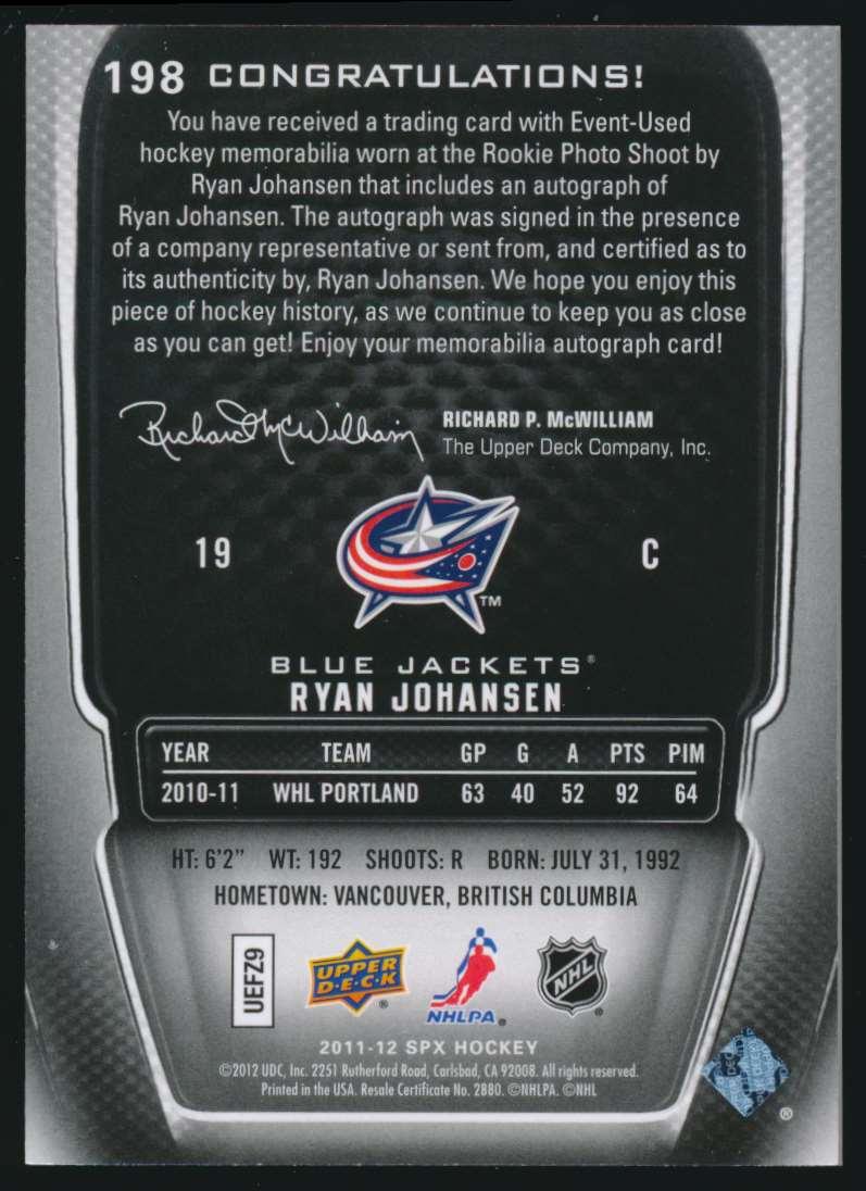 2011-12 SPx Autographed Rookie Ryan Johansen #198 card back image