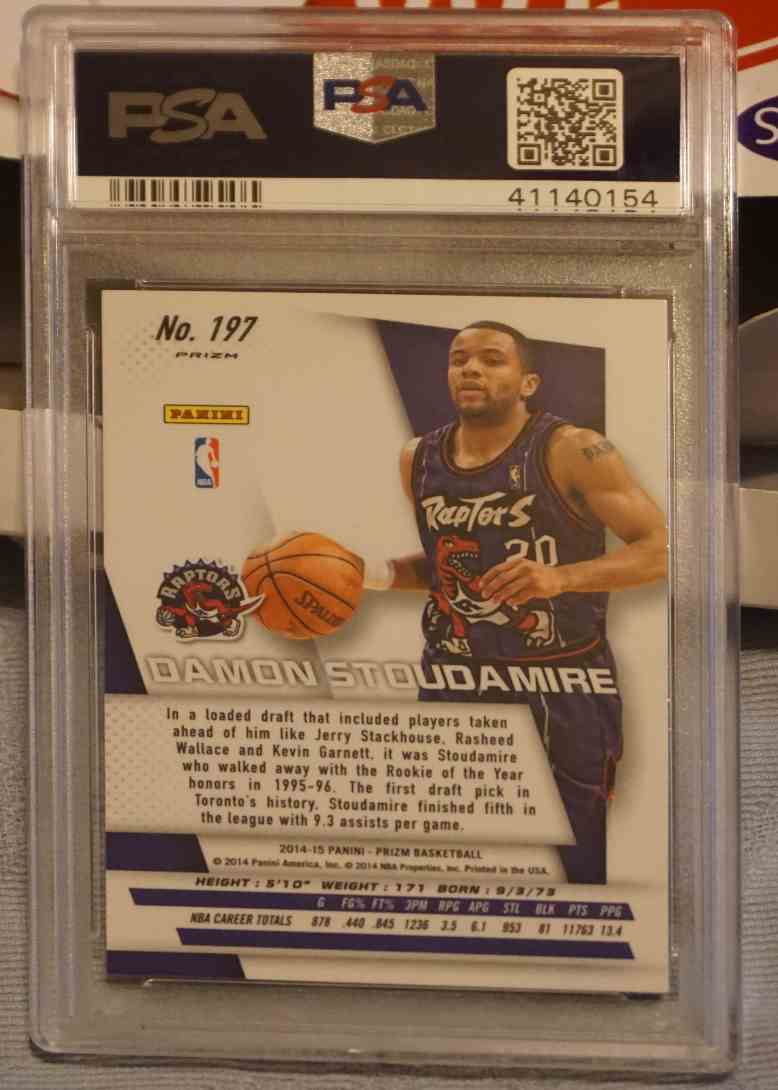 2014-15 Panini Prizm Blue Green Mosaic PSA DNA Damon Stoudamire card back image