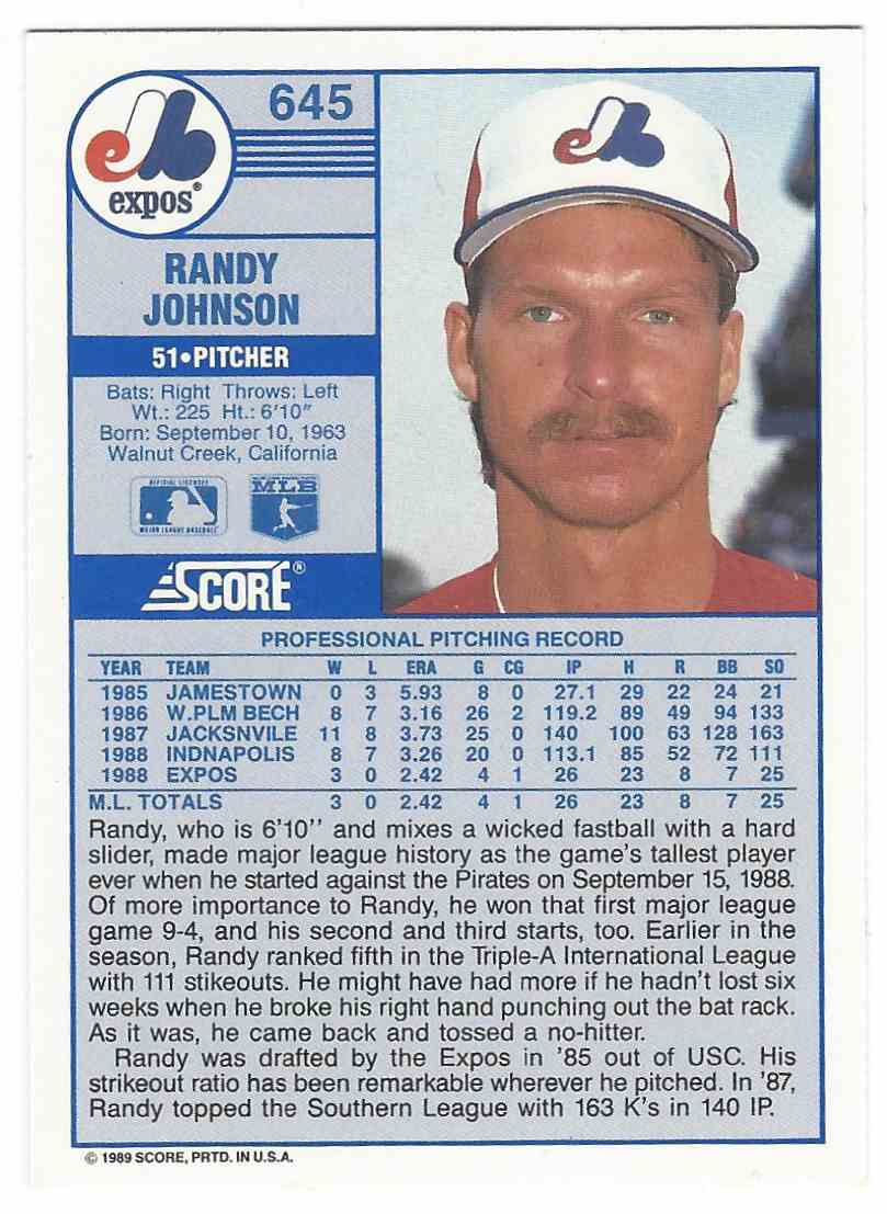 1989 Score Rookies Randy Johnson 645 On Kronozio