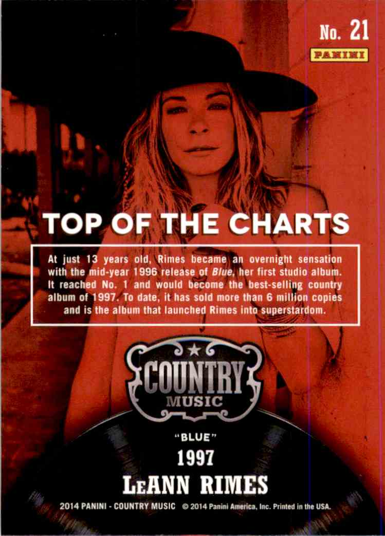 2015 Country Music Top Of The Charts Green LeAnn Rimes #21 card back image