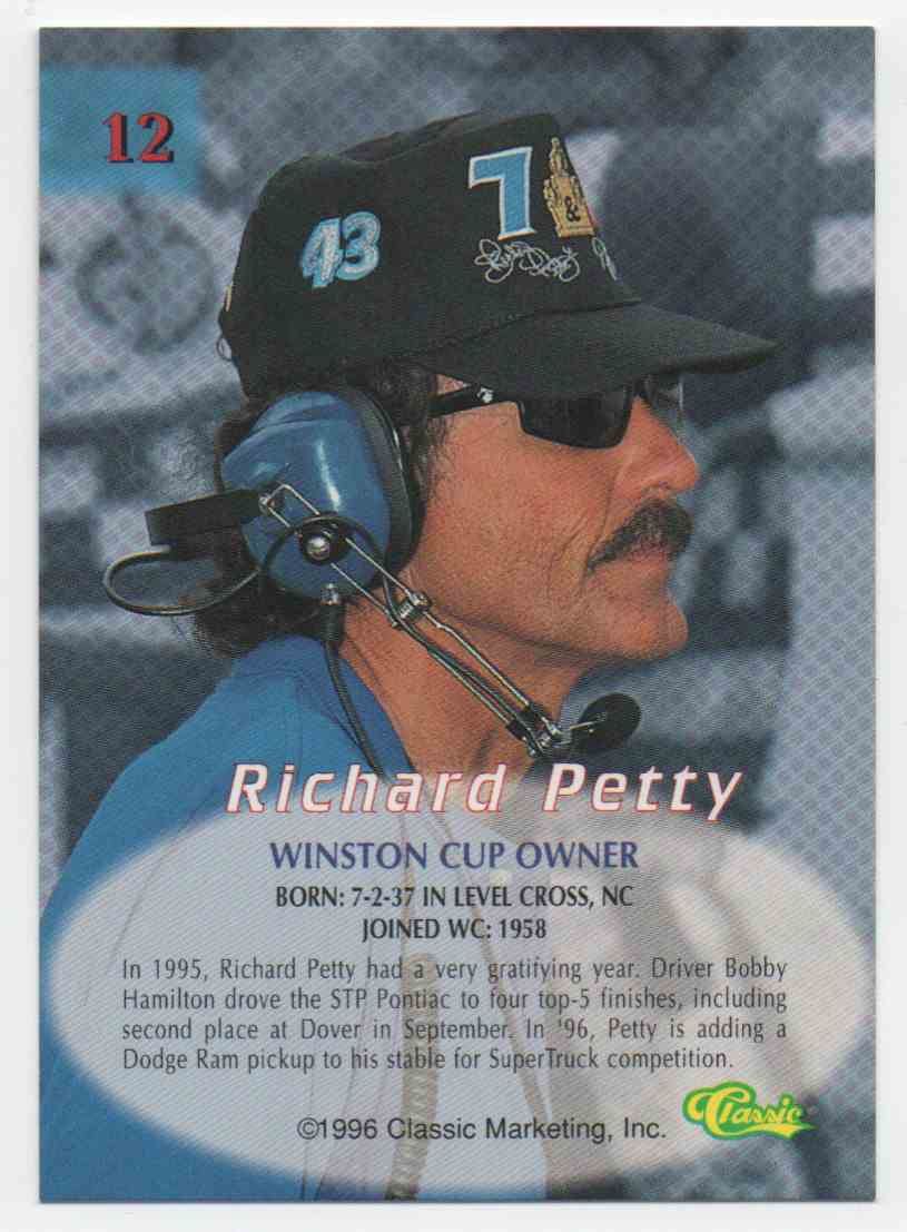 1996 Classic Richard Petty #12 card back image