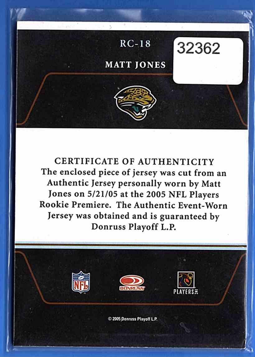 2005 Zenith Rookie Roll Call Jerseys Matt Jones #RC-18 card back image