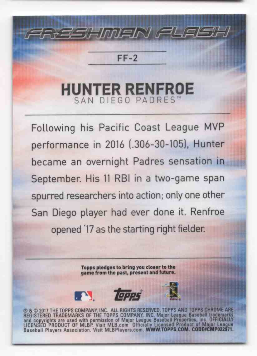 2017 Topps Chrome Freshman Flash Hunter Renfroe #FF2 card back image